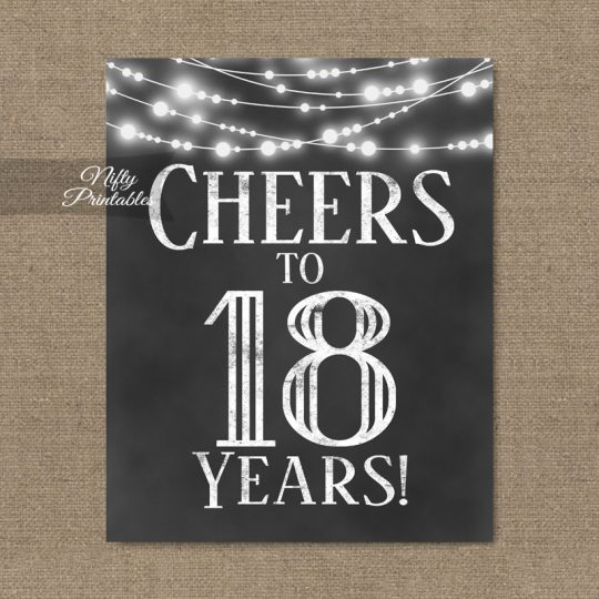18th Birthday Sign - Chalkboard Lights