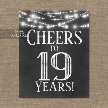19th Birthday Sign - Chalkboard Lights