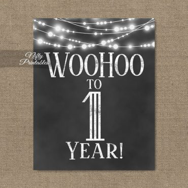 1st Birthday Sign - Chalkboard Lights