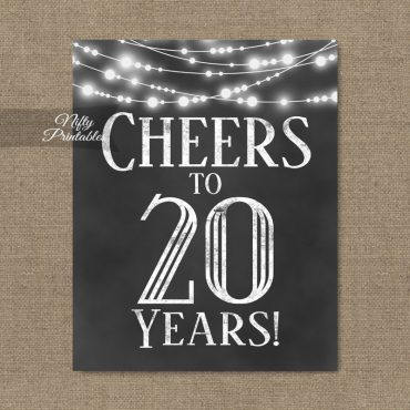 20th Birthday Sign - Chalkboard Lights
