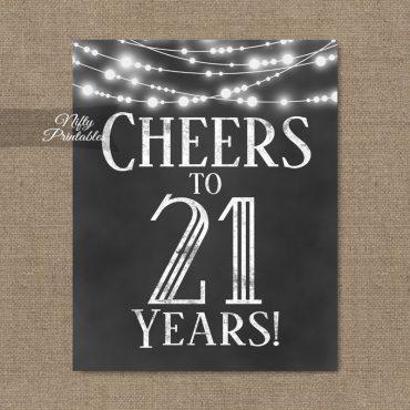21st Birthday Sign - Chalkboard Lights