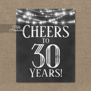 30th Birthday Sign - Chalkboard Lights