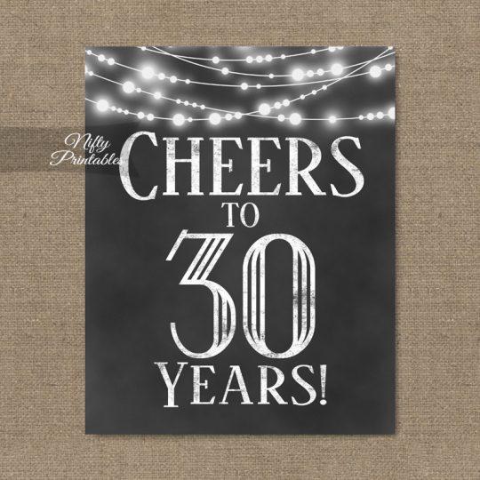 30th Birthday Sign - Chalkboard Lights