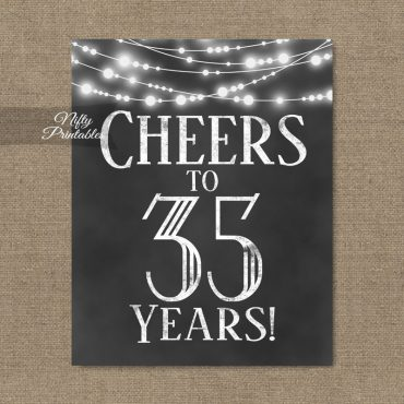 35th Birthday Sign - Chalkboard Lights