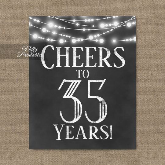 35th Birthday Sign - Chalkboard Lights