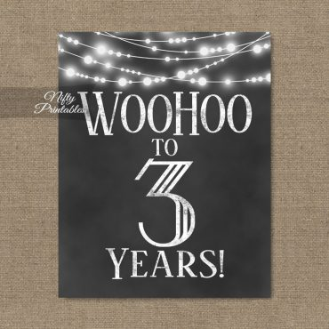 3rd Birthday Sign - Chalkboard Lights