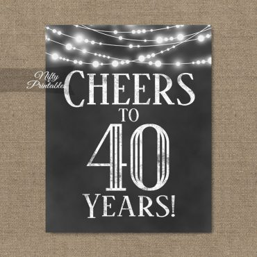 40th Birthday Sign - Chalkboard Lights