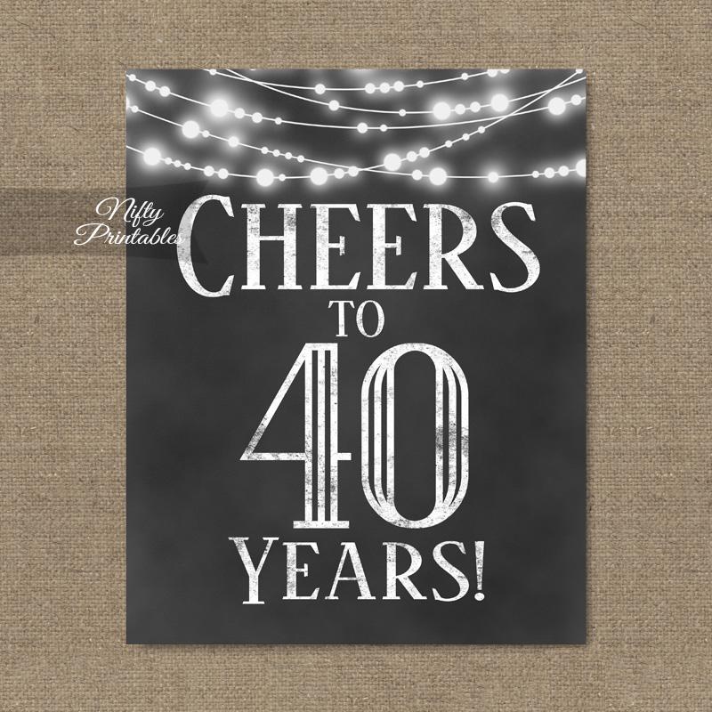 photo regarding 40th Birthday Signs Printable named 40th Birthday Signal - Chalkboard Lighting