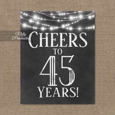 45th Birthday Sign - Chalkboard Lights