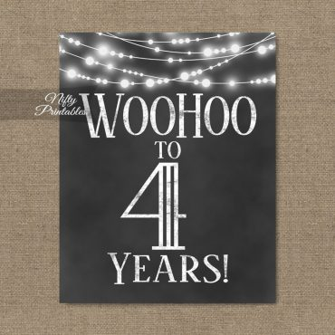 4th Birthday Sign - Chalkboard Lights
