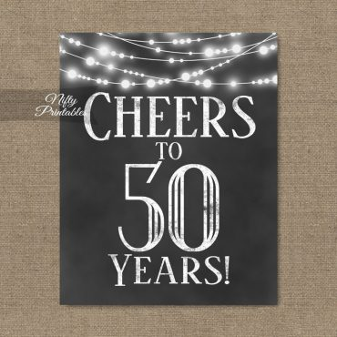 50th Birthday Sign - Chalkboard Lights