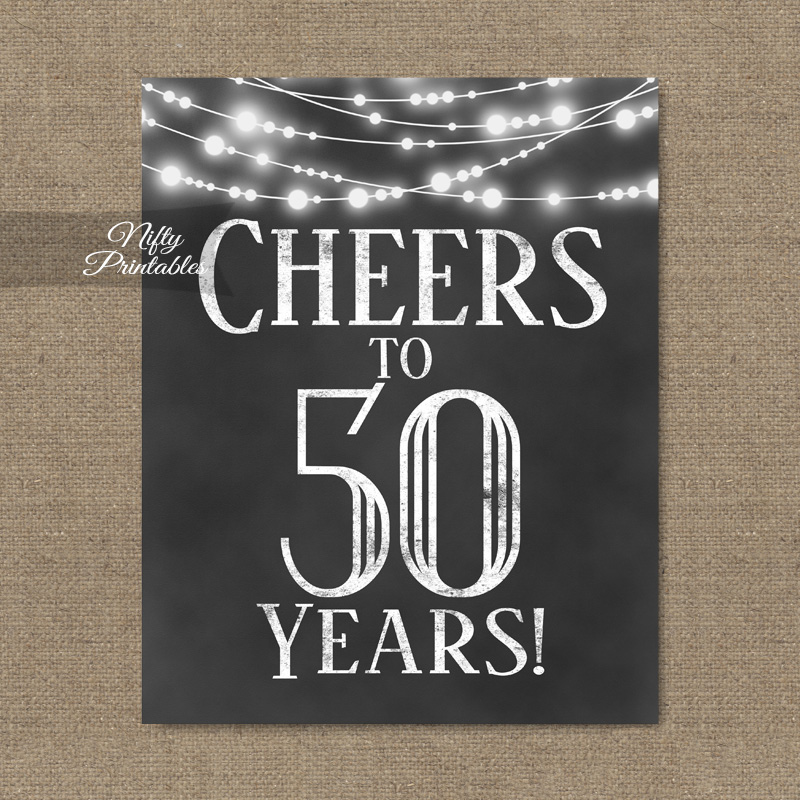 photo regarding 50th Birthday Signs Printable identify 50th Birthday Signal - Chalkboard Lighting