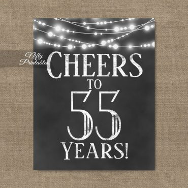 55th Birthday Sign - Chalkboard Lights