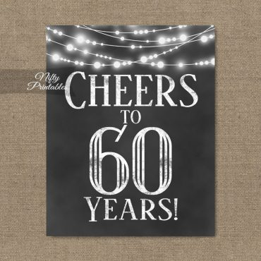 60th Birthday Sign - Chalkboard Lights