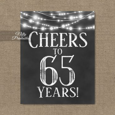 65th Birthday Sign - Chalkboard Lights