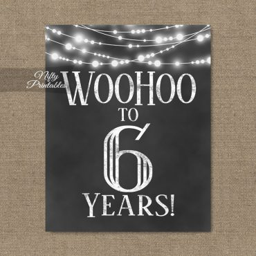 6th Birthday Sign - Chalkboard Lights