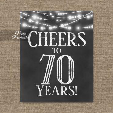 70th Birthday Sign - Chalkboard Lights
