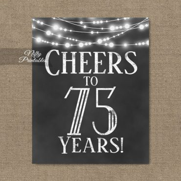 75th Birthday Sign - Chalkboard Lights