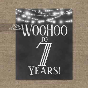 7th Birthday Sign - Chalkboard Lights