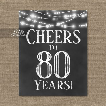 80th Birthday Sign - Chalkboard Lights