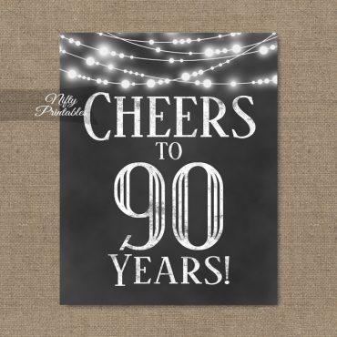 90th Birthday Sign - Chalkboard Lights