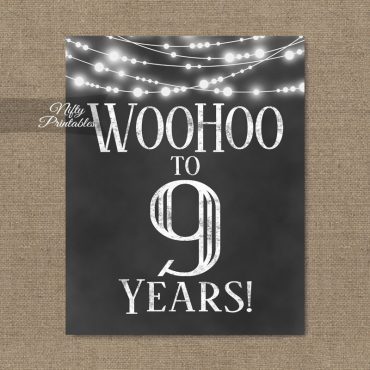 9th Birthday Sign - Chalkboard Lights