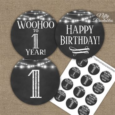 1st Birthday Cupcake Toppers - Chalkboard Lights