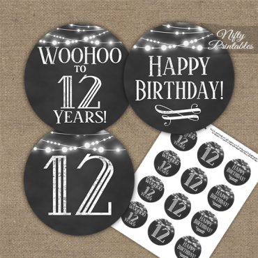12th Birthday Cupcake Toppers - Chalkboard Lights