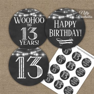 13th Birthday Cupcake Toppers - Chalkboard Lights