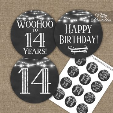 14th Birthday Cupcake Toppers - Chalkboard Lights