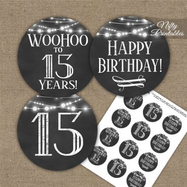 15th Birthday Cupcake Toppers - Chalkboard Lights