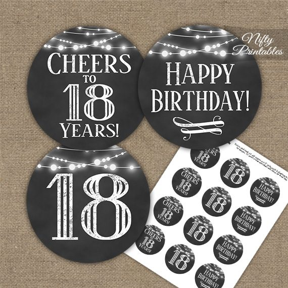 18th Birthday Cupcake Toppers - Chalkboard Lights