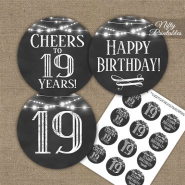 19th Birthday Cupcake Toppers - Chalkboard Lights