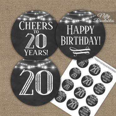 20th Birthday Cupcake Toppers - Chalkboard Lights