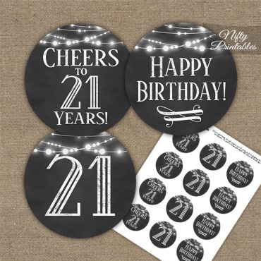 21st Birthday Cupcake Toppers - Chalkboard Lights