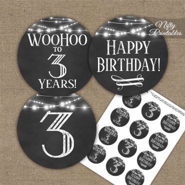 3rd Birthday Cupcake Toppers - Chalkboard Lights