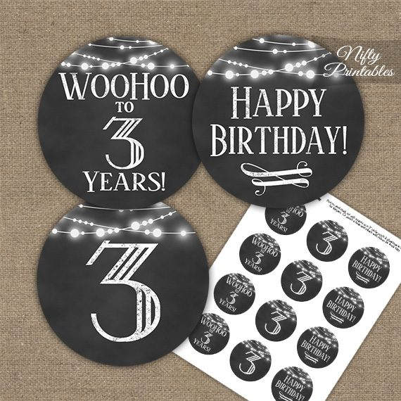 3rd Birthday Cupcake Toppers