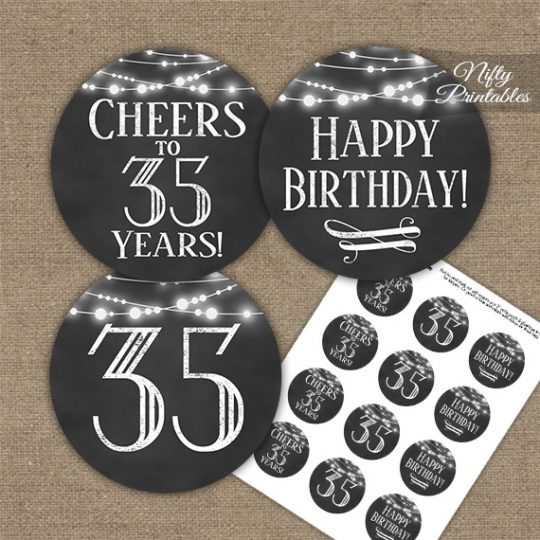 35th Birthday Cupcake Toppers - Chalkboard Lights