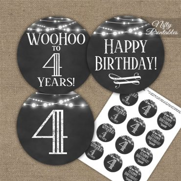 4th Birthday Cupcake Toppers - Chalkboard Lights