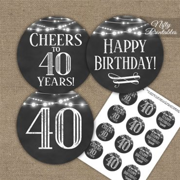 40th Birthday Cupcake Toppers - Chalkboard Lights