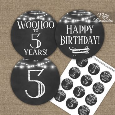 5th Birthday Cupcake Toppers - Chalkboard Lights