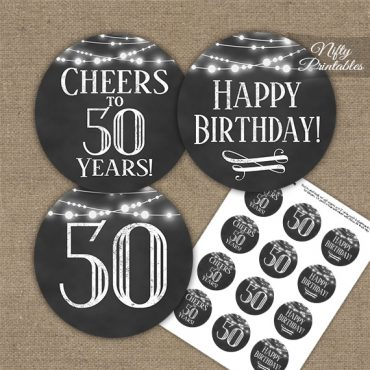 50th Birthday Cupcake Toppers - Chalkboard Lights