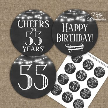 55th Birthday Cupcake Toppers - Chalkboard Lights