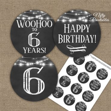 6th Birthday Cupcake Toppers - Chalkboard Lights