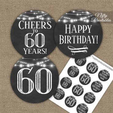 60th Birthday Cupcake Toppers - Chalkboard Lights