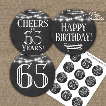 65th Birthday Cupcake Toppers - Chalkboard Lights