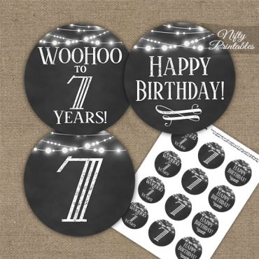 7th Birthday Cupcake Toppers - Chalkboard Lights