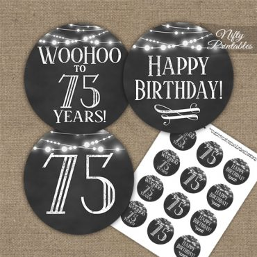 75th Birthday Cupcake Toppers - Chalkboard Lights