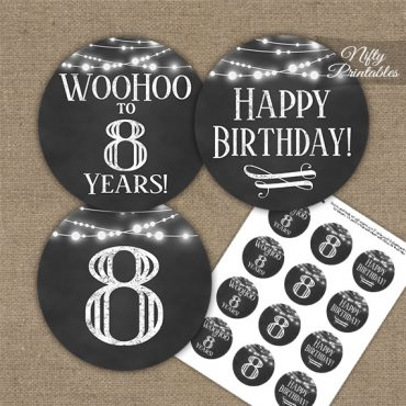 8th Birthday Cupcake Toppers - Chalkboard Lights