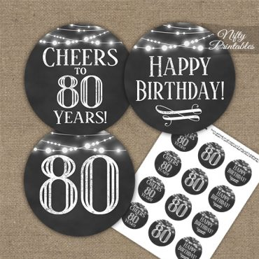 80th Birthday Cupcake Toppers - Chalkboard Lights